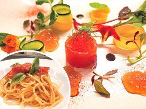 福井サーモンと地物甘エビのメダル仕立て 旬野菜と甘エビコンソメのジュレ添え